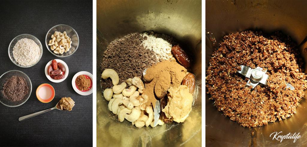 Préparation des bouchées chocolat cannelle avec des noix de cajou, des dates, des flocons d'avoine, du chocolat, du beurre de cacahouètes, ...