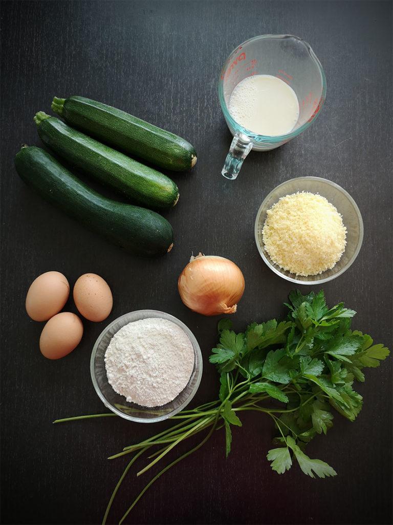 Ingrédients pour la recette du gâteau aux courgettes