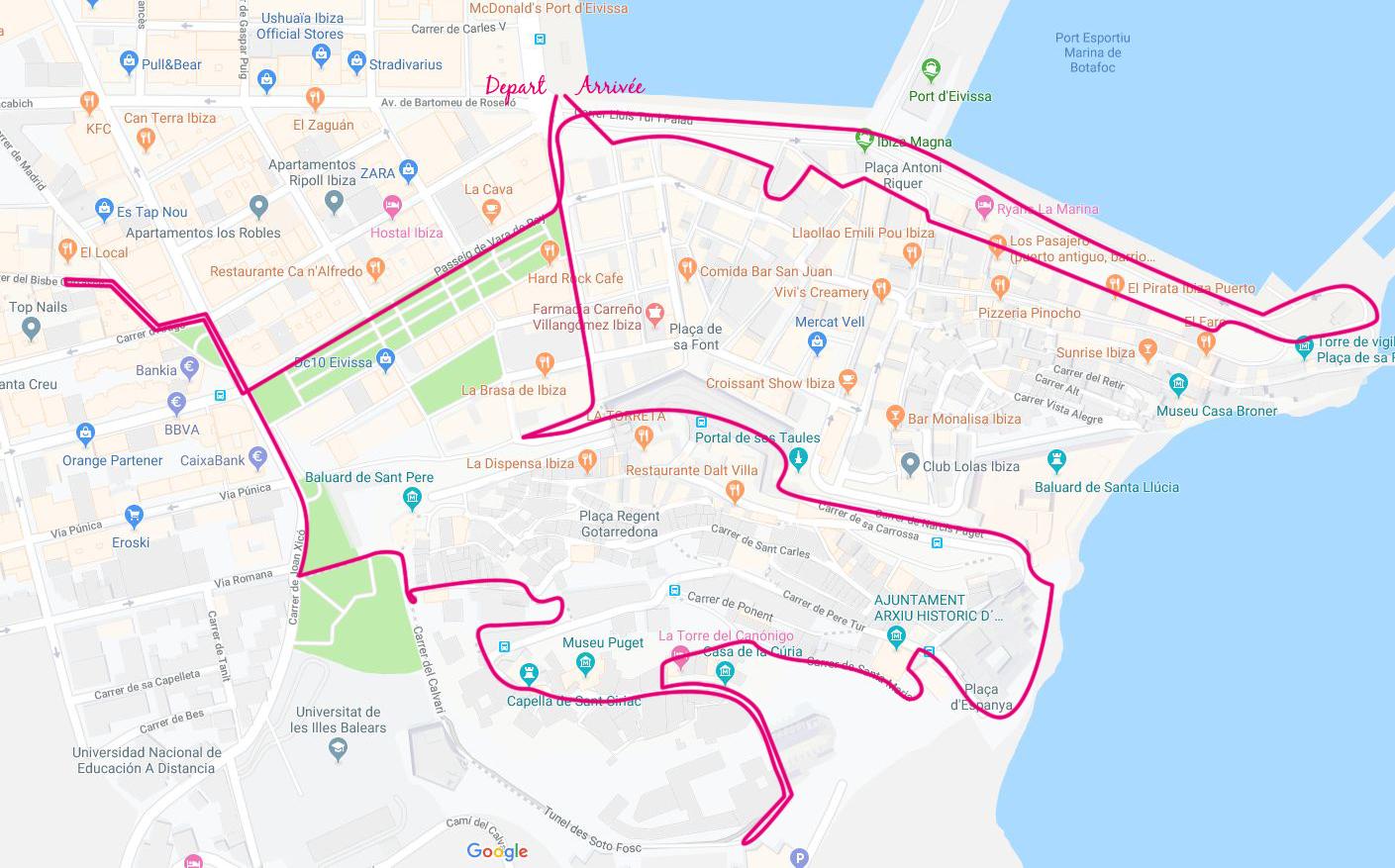 Parcours d'une journée de visite à Ibiza