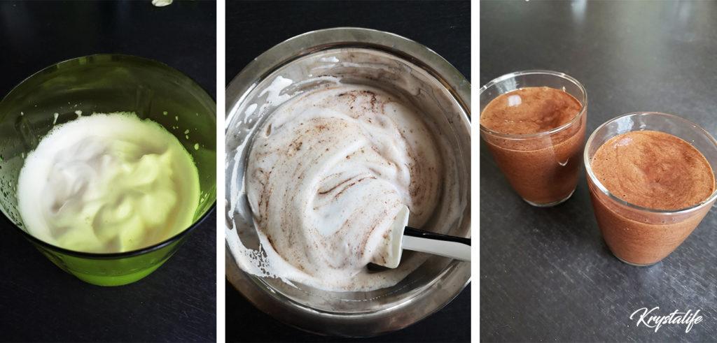 préparation de la mousse au chocolat vegan avec l'aquafaba