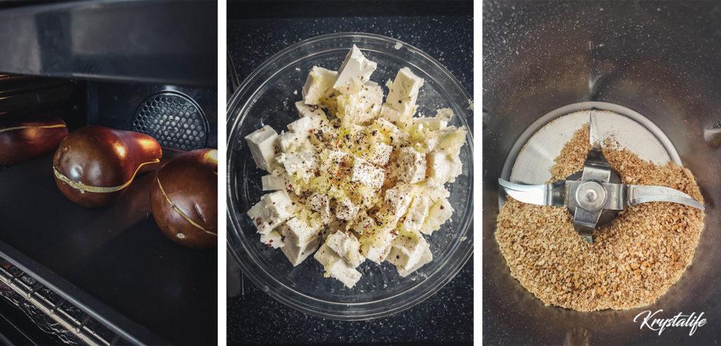 préparation des aubergines feta et chapelure