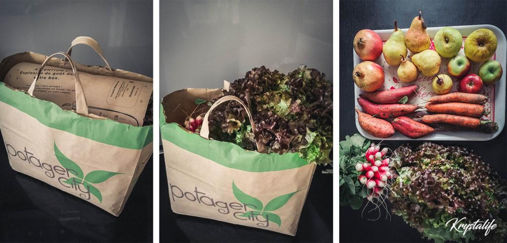 Le panier Potager City et ses fruits et légumes