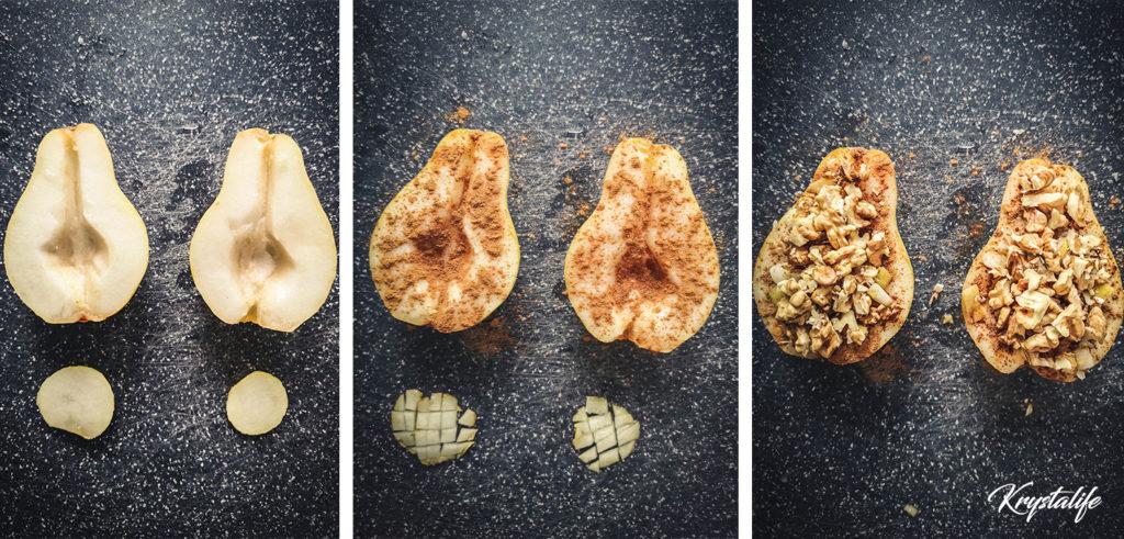 préparation poire cannelle noix