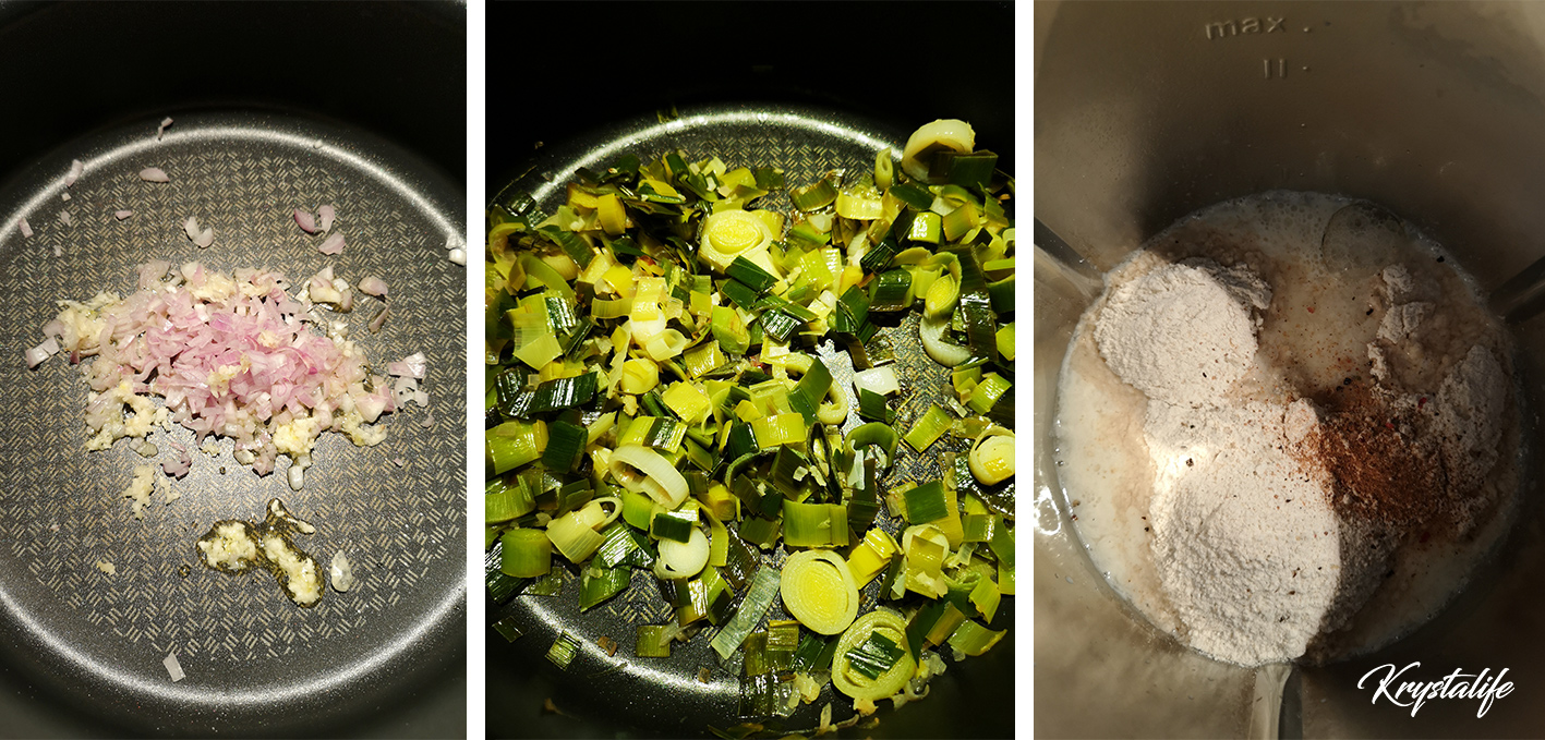 Préparation de la quiche sans pâte au poireau