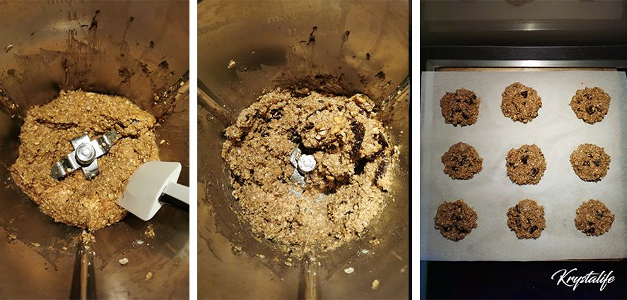 Soft cookies - banana oatmeal preparation with optional add-ins chocolate chips and walnuts