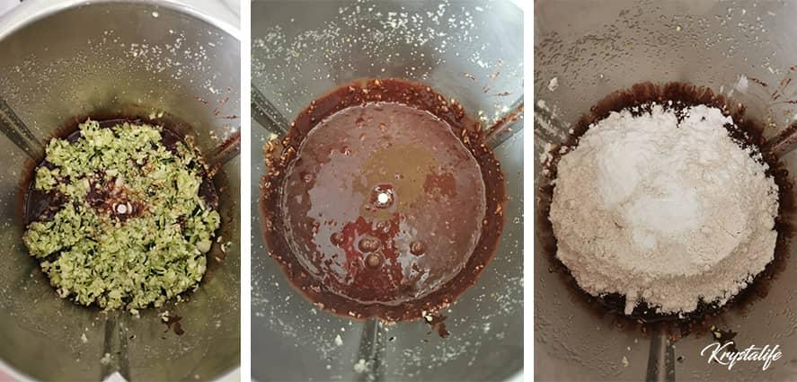 Préparation du gâteau chocolat courgette