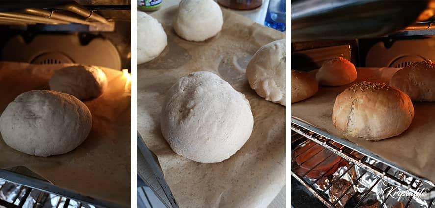 Les pains doivent lever 15 minutes puis cuit 10 minutes au four