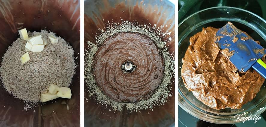 Préparation de la crème noix chocolat pour la galette des rois