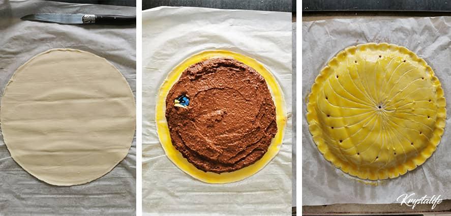 Garnissage de la galette des rois avec la crème aux noix de Grenoble et au chocolat