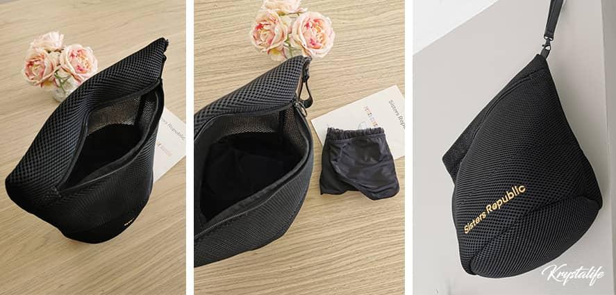 La pochette Sisters Republic, un rangement puis un filet idéal pour les culottes de règles.