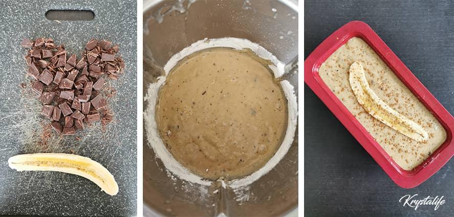 Préparation du banana bread healthy